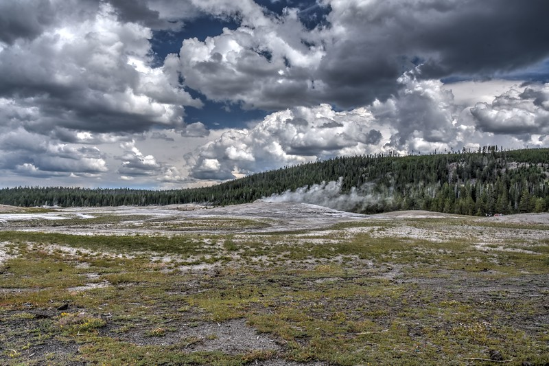 Waiting for Old Faithful Geyser at Yellowstone National Park