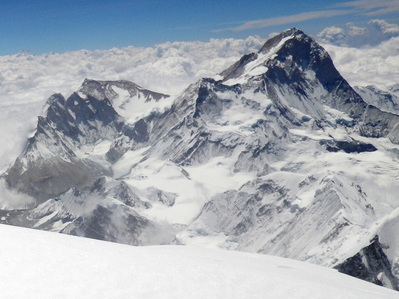 View towards east - Makalu (27,825ft = 8.481m) fifth highest mountain in the world.