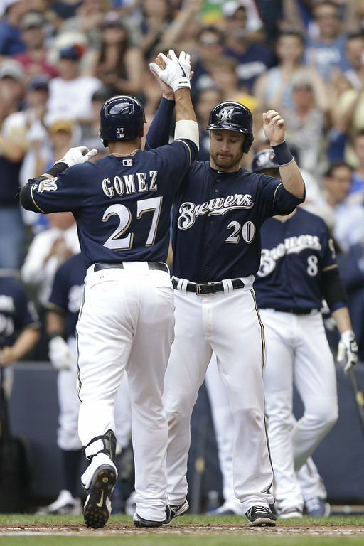 . MILWAUKEE, WI - JUNE 28: Carlos Gomez #27 of the Milwaukee Brewers celebrates with Jonathan Lucroy #20 after hitting a three run homer in the top of the first inning against the Colorado Rockies at Miller Park on June 28, 2014 in Milwaukee, Wisconsin. (Photo by Mike McGinnis/Getty Images)