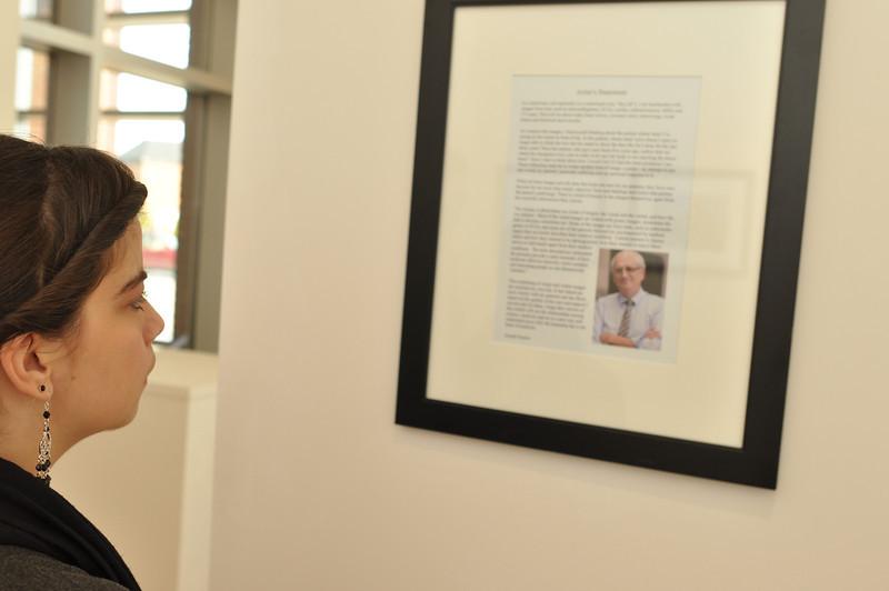 Gardner-Webb Student, Hannah Mayfield reads the Artist's Statement from Joseph Gascho.