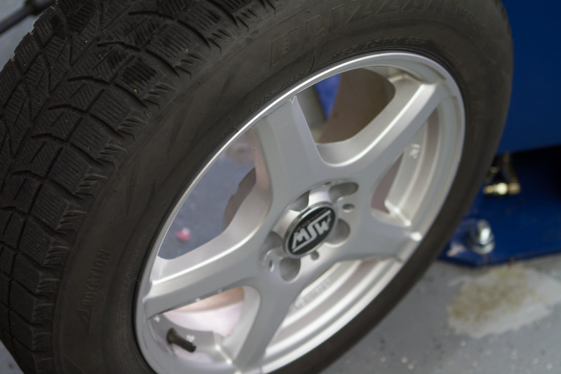 MSW alloy rims mounted with Blizzak winter tires