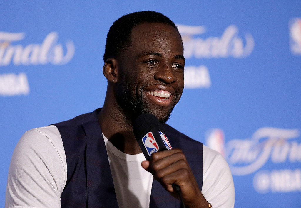 . Golden State Warriors forward Draymond Green speaks at a news conference after Game 2 of basketball\'s NBA Finals against the Cleveland Cavaliers in Oakland, Calif., Sunday, June 4, 2017. (AP Photo/Ben Margot)