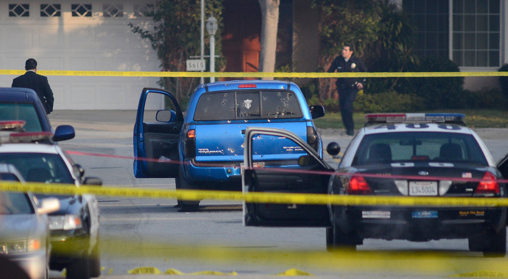 . In Torrance on Redbbeam Ave (19400 blk approx) a blue truck was shot up by officers early Thursday morning. It was believed at the scene to be a newspaper delivery vehicle, but unconfirmed. Photo by Brad Graverson 2-7-12