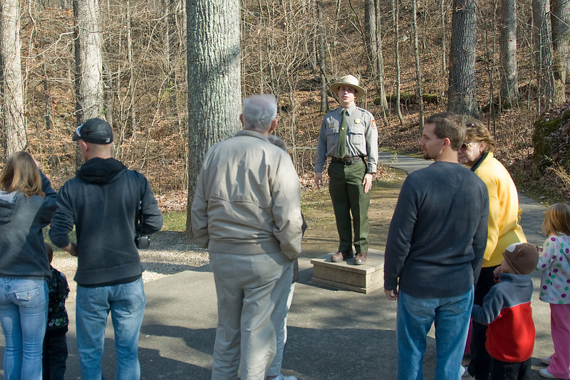 Park ranger orienting tourists at Mammoth Cave National Park, Kentucky