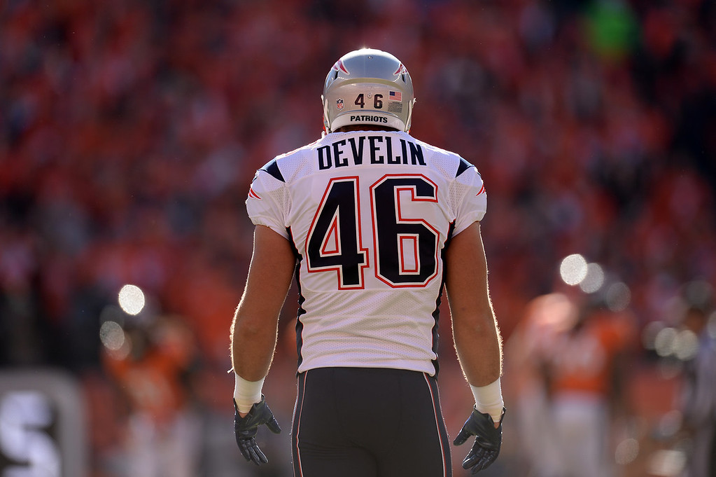 . New England Patriots fullback James Develin (46) before the start of the game. The Denver Broncos take on the New England Patriots in the AFC Championship game at Sports Authority Field at Mile High in Denver on January 19, 2014. (Photo by Hyoung Chang/The Denver Post)