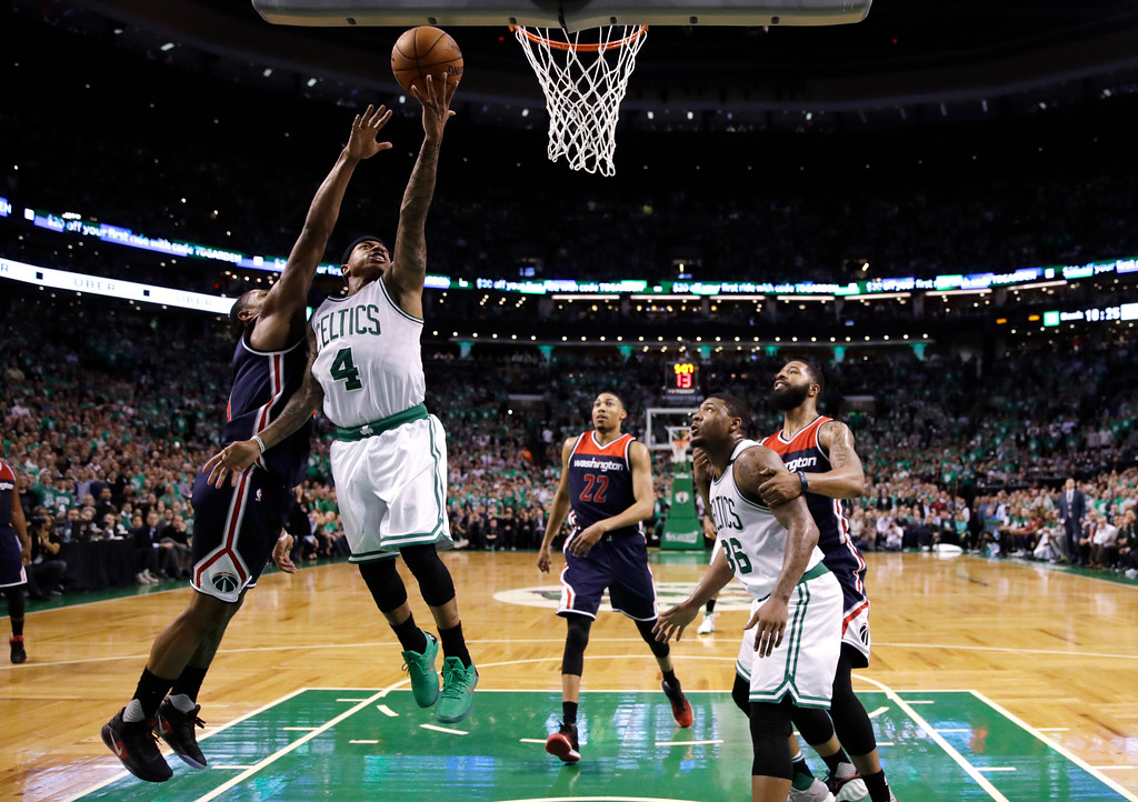 . Boston Celtics guard Isaiah Thomas (4) drives to the basket during the second half of Game 7 of an NBA basketball second-round playoff series Boston, Monday, May 15, 2017. (AP Photo/Charles Krupa)