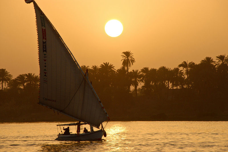 A Dhow on the Nile at Sunset