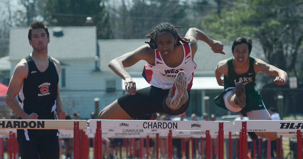 . Maribeth Joeright/MJoeright@News-Herald.com<p> West Geauga\'s Paedyn Gomes wins the boys 110 meter hurdles in a convincing fashion during the Hilltopper Invitational in Chardon.