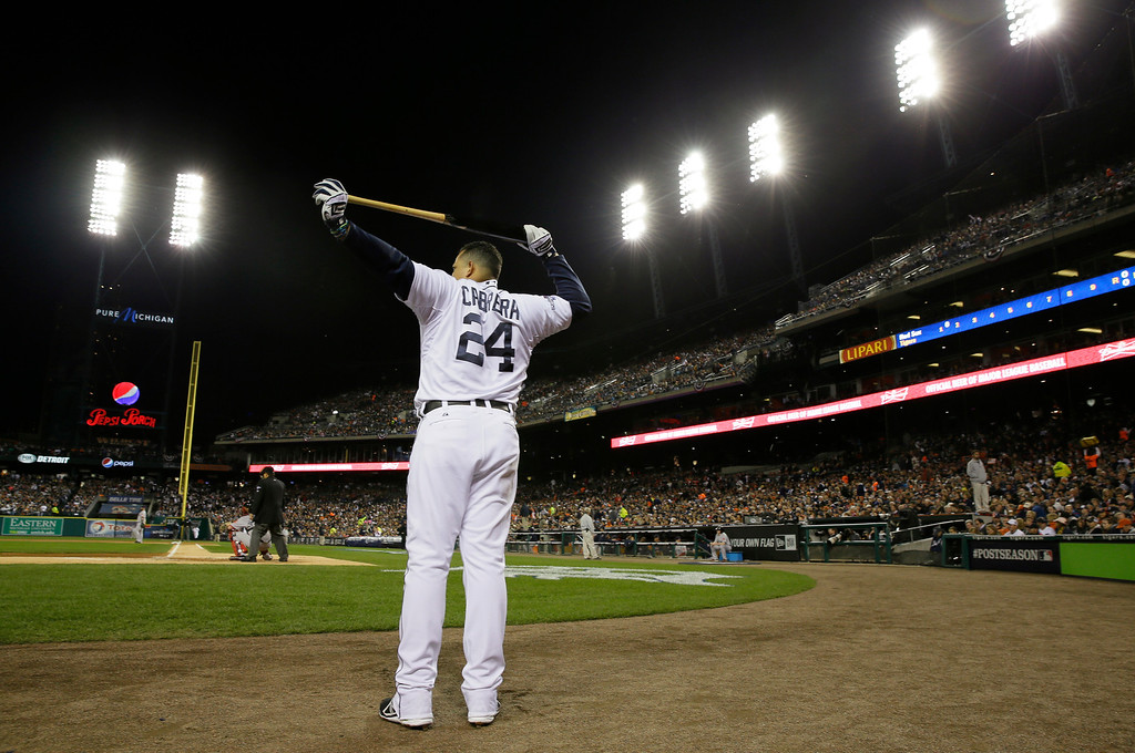. Detroit Tigers third baseman Miguel Cabrera waits to bat in the first inning during Game 4 of the American League baseball championship series against the Boston Red Sox, Wednesday, Oct. 16, 2013, in Detroit. (AP Photo/Matt Slocum)