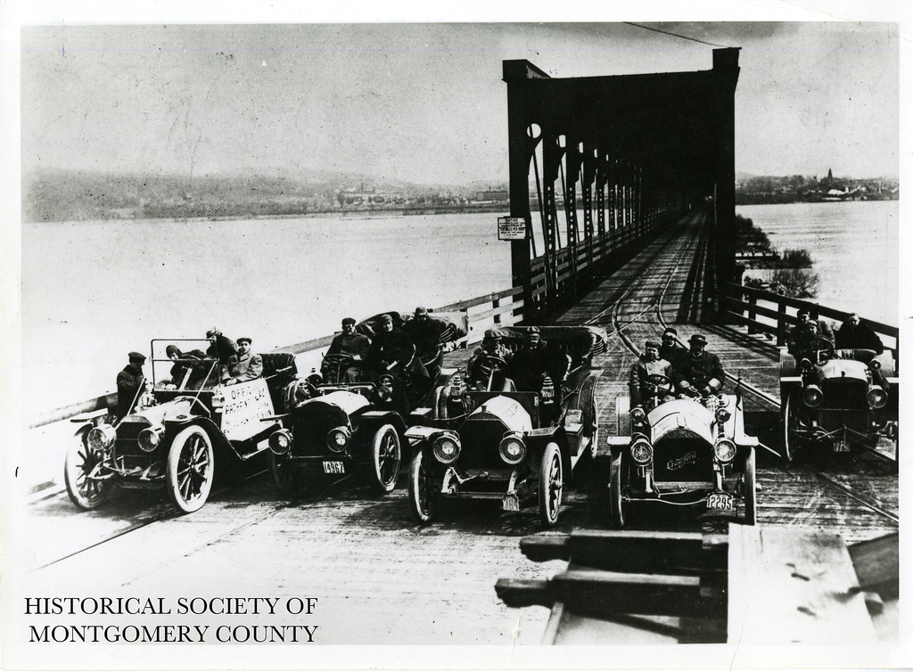 . This photo from the Historical Society of Montgomery County shows the 1909 Automobile Club of Norristown at the Columbia, Pa. bridge during the start of a �Pathfinder Run.�  The 1st and 3rd cars are Chadwicks, which were producing in Pottstown.