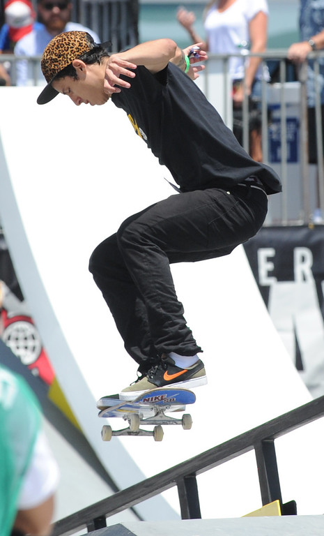 . Luan Oliveira skates his way into 3rd place during the Skateboard Vert Finals at L.A. Live in Los Angeles, CA. 8/3/2013(John McCoy/LA Daily News)