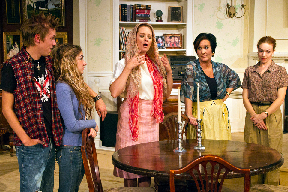 Description of . Eric Eilersen (from left), Madison Deadman, Emily Rose, Sandra Birch and Kristin Condon in a scene from