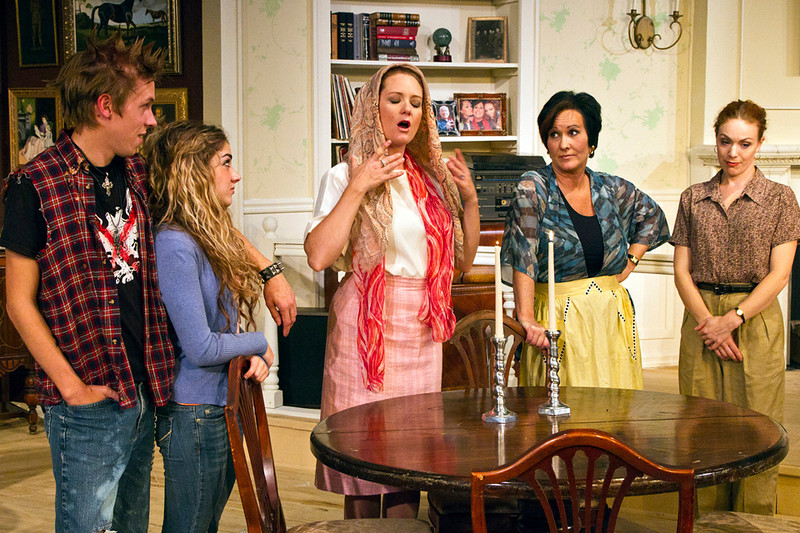 """. Eric Eilersen (from left), Madison Deadman, Emily Rose, Sandra Birch and Kristin Condon in a scene from \""""The Sisters Rosenweig.\"""" Photo by Jan Cartwright"""