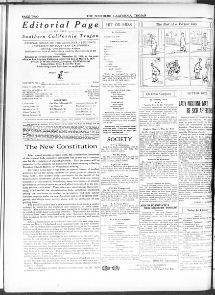 The Southern California Trojan, Vol. 11, No. 78, April 06, 1920