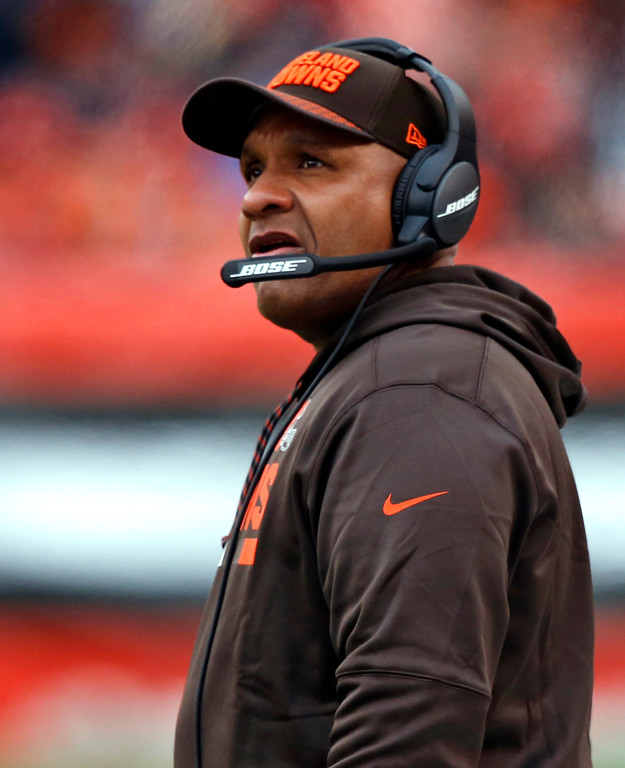 . Cleveland Browns head coach Hue Jackson watches during the first half of an NFL football game against the Baltimore Ravens, Sunday, Dec. 17, 2017, in Cleveland. (AP Photo/Ron Schwane)