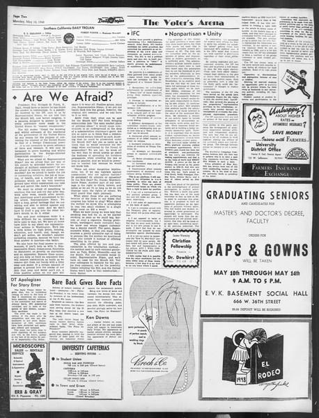 Daily Trojan, Vol. 39, No. 136, May 10, 1948
