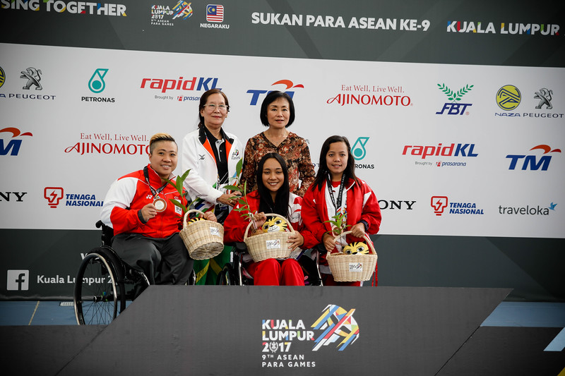 PARA SWIMMING - THERESA RUI SI GOH in the victory ceremony (bronze medal) along with other country athletes, in Women's 100 LC Meter Freestyle S6  Finals at Aquatics Centre, KL on September 18th, 2017 (Photo by Sanketa Anand)