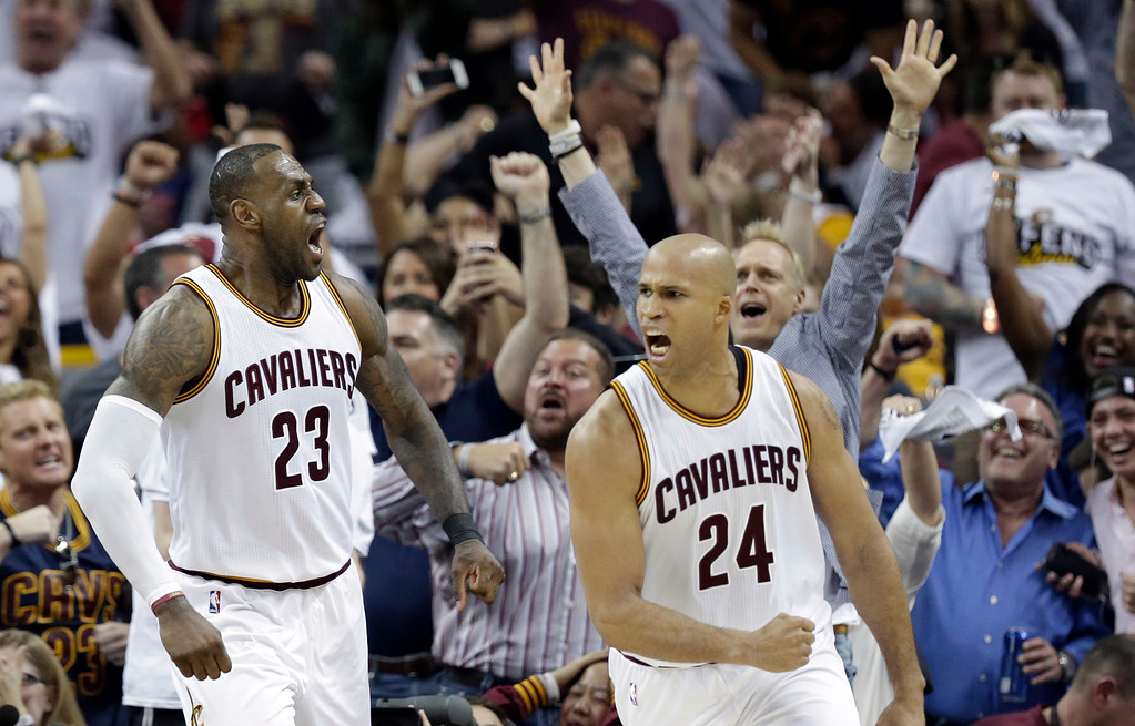. Cleveland Cavaliers\' LeBron James (23) and Richard Jefferson (24) celebrate after James makes a basket in the second half in Game 1 of a first-round NBA basketball playoff series against the Indiana Pacers, Saturday, April 15, 2017, in Cleveland. The Cavaliers won 109-108. (AP Photo/Tony Dejak)