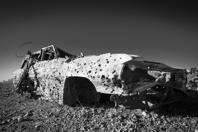 Car Wreck, full with Bullet wholes, at Silver Creek Rd between Oatman and Bullhead City