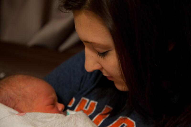 Jenna Grabiec with Hunter at Sarah Bush Lincoln Hospital in Mattoon, Illinois on November 16,  2011. (Jay Grabiec)