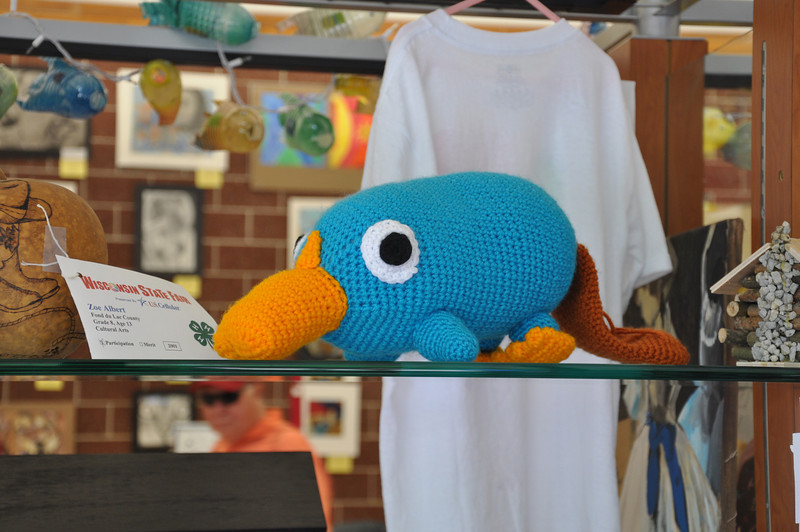Perry the Platapus in yarn