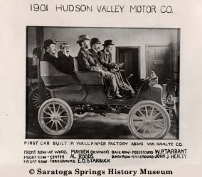 1901 Hudson Valley Motor Company builds its first car in Saratoga Springs. Photo courtesy of Saratoga Springs History Museum.