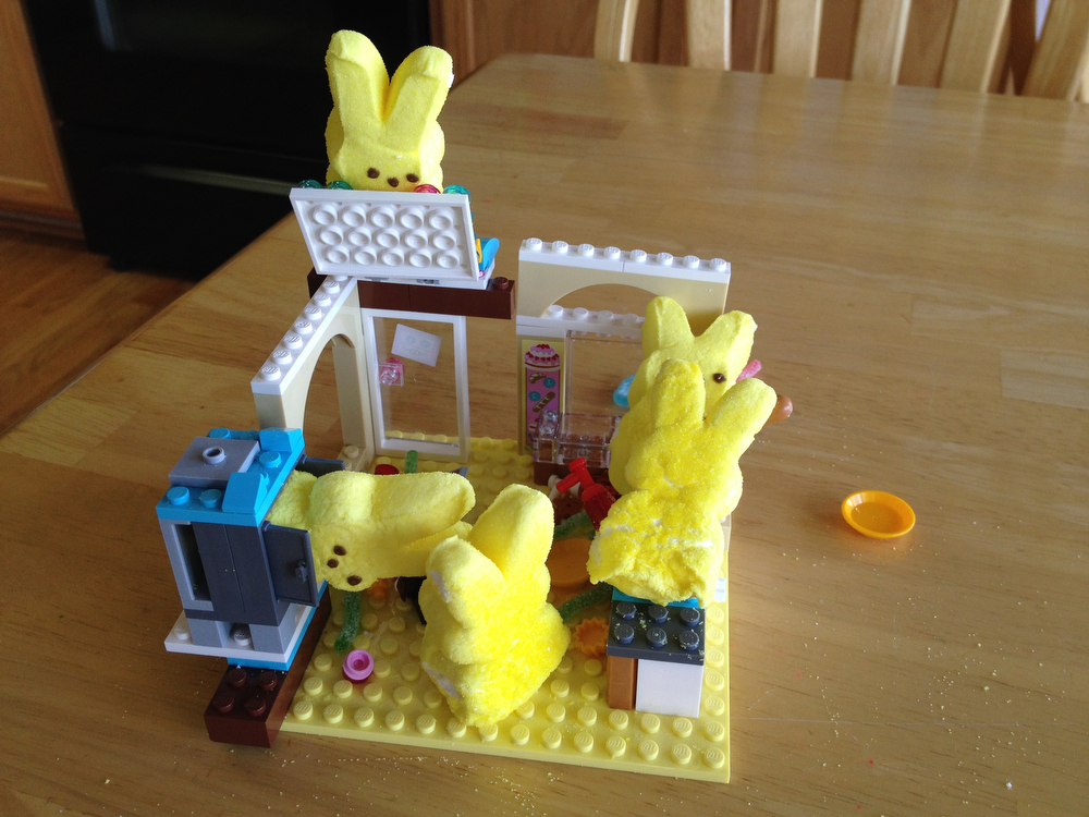 . Peeps bunny chaos in the Lego bakery (Jeff Brislawn)