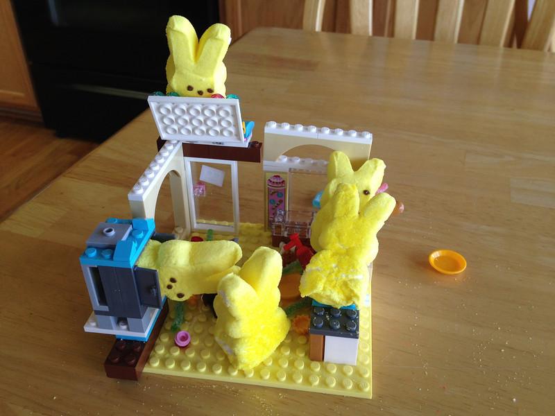 . Peeps bunny chaos in the Lego bakery (Jeff Brislawn)