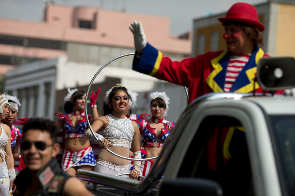 . Circus performers protest a new city ban on animals in circuses in Mexico City, Tuesday, June 10, 2014. Animals will no longer be allowed for exhibition, under the penalty of fines. (AP Photo/Rebecca Blackwell)