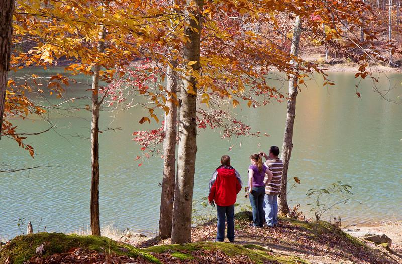 Rob, Jenn, and James at Cannon Creek Lake near Middlesboro, Kentucky