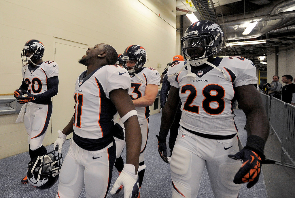 . Denver Broncos wide receiver Trindon Holliday (11) screams out as they head to the field agains the Indianapolis Colts October 20, 2013 at Lucas Oil Field. Photo by John Leyba/The Denver Post)