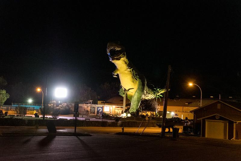 The World's Largest Dinosaur at night