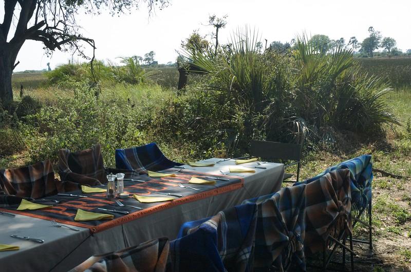 Bush lunch in Okavango Delta - Leslie Rowley