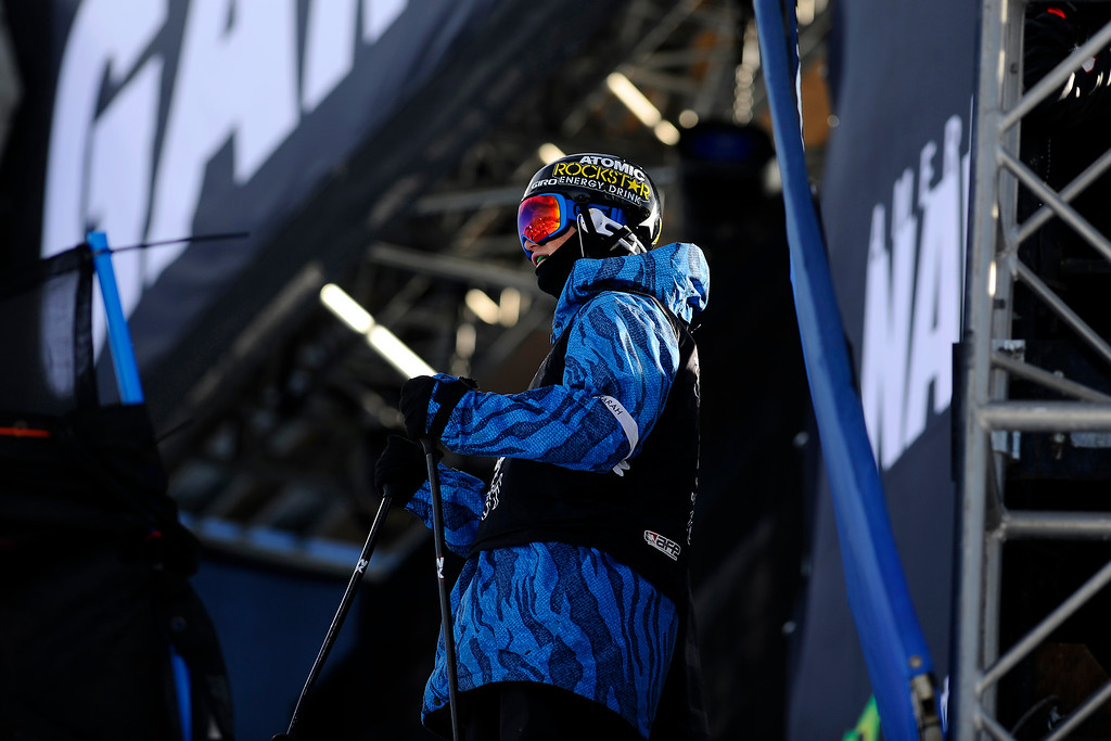 . ASPEN, CO. - JANUARY 25:  Mike Riddle prepares to take his second run at the Ski Superpipe Men\'s Finals at Winter X Games 2015, Sunday, January 25.  (Photo By Mahala Gaylord/The Denver Post)