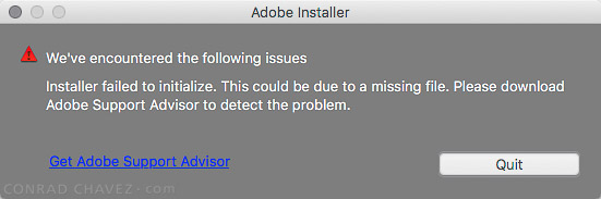 "Installer Failed to Initialize"" error."