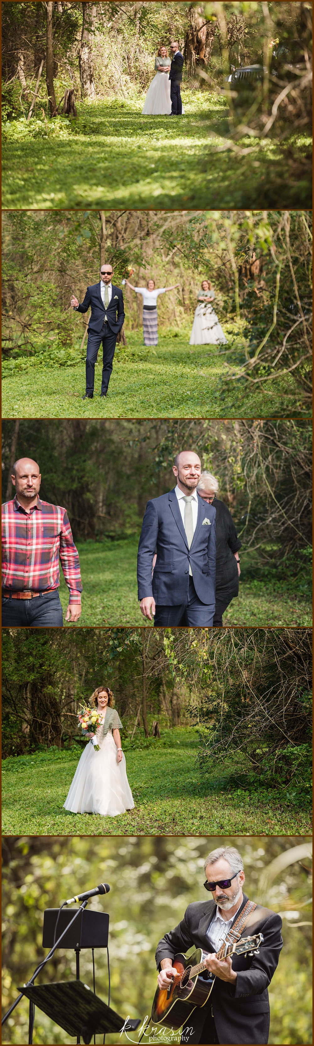 Collage of photos of beginning of wedding ceremony