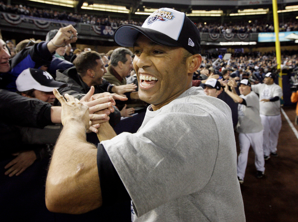 . New York Yankees\' Mariano Rivera celebrates after the ninth inning of Game 6 of the Major League Baseball World Series against the Philadelphia Phillies Wednesday, Nov. 4, 2009, in New York. The Yankees won 7-3.  (AP Photo/David J. Phillip)