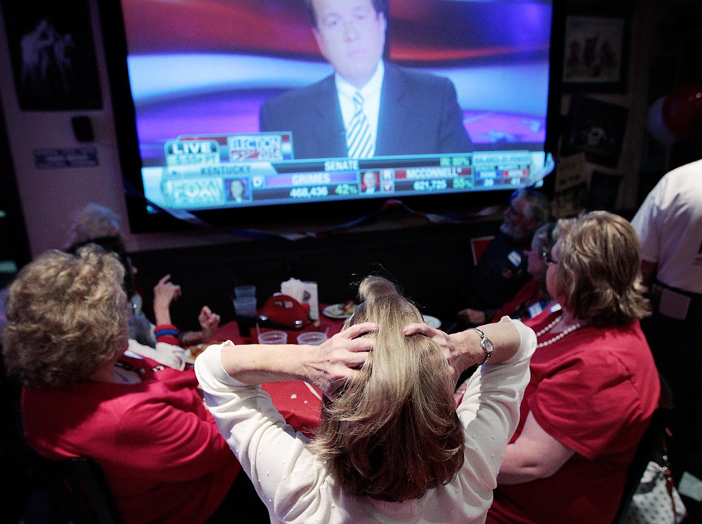 . Republican party supporter Marti Miller, center, reacts as the early numbers are reported on a tightly contested Senate race in Kentucky during a GOP election night watch party at Patrick\'s in East Memphis, Tuesday, Nov. 4, 2014. (AP Photo/The Commercial Appeal, Jim Weber)