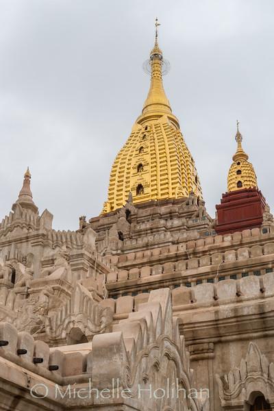 Golden domes of the Ananda Temple in Bagan, Myanmar