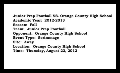Jr Prep Football vs Orange Scrimmage