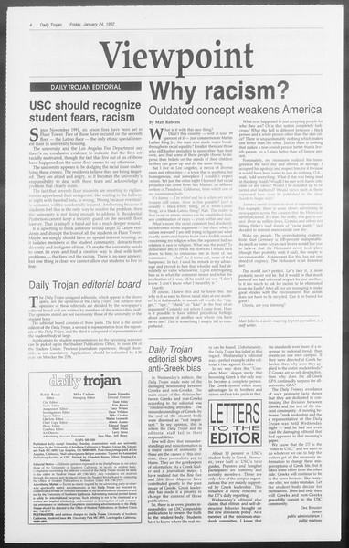 Daily Trojan, Vol. 117, No. 7, January 24, 1992