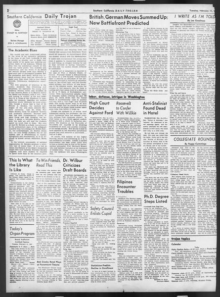 Daily Trojan, Vol. 32, No. 78, February 11, 1941