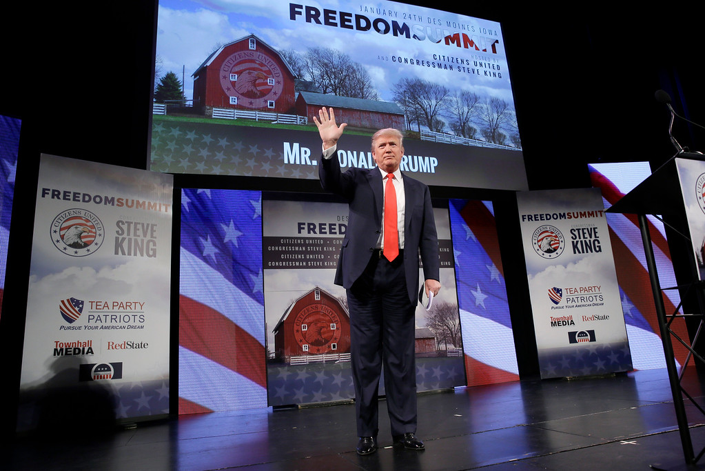 . Donald Trump waves after speaking at the Freedom Summit, Saturday, Jan. 24, 2015, in Des Moines, Iowa. (AP Photo/Charlie Neibergall)