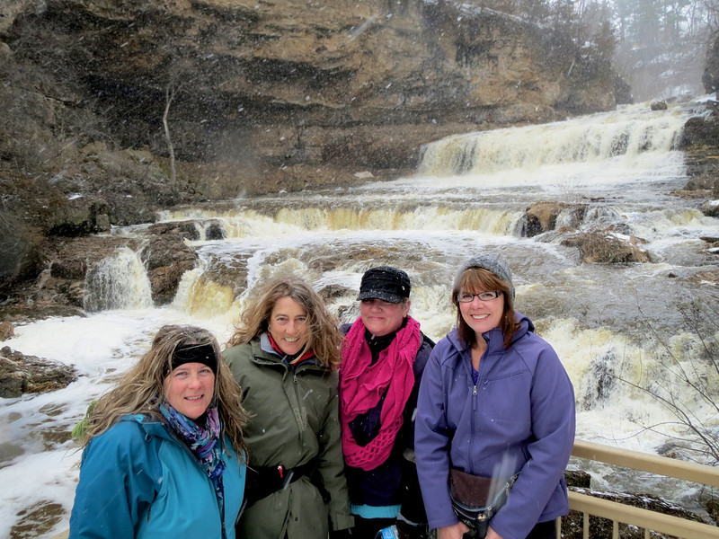 Five Rovers braved the weather for a 2.5 hour hike in Willow River State Park WI. on Sunday April 14th. Karen Venke Jenelle Carol and Jim with the camera. Thanks goes to Venke for putting this great hike together. It was not the best day for photos so I snagged some other shots I have taken in this great park.