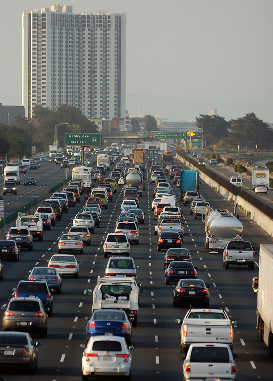 . On day 2 of the BART strike, morning commute traffic backs up in the westbound lanes of I-80 near University Ave. in Berkeley, Calif. on Tuesday, July 2, 2013. (Kristopher Skinner/Bay Area News Group)