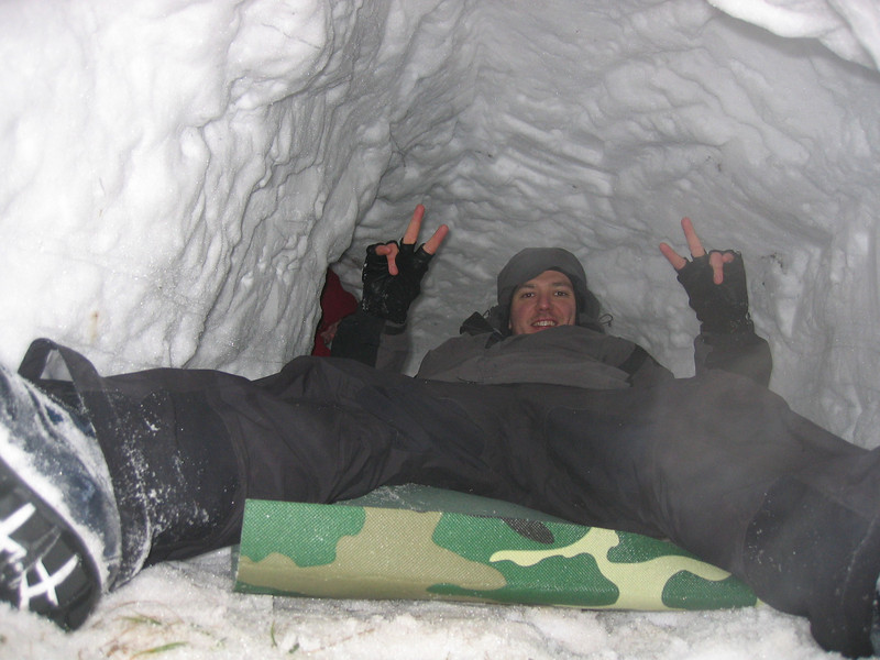 Inside snow cave