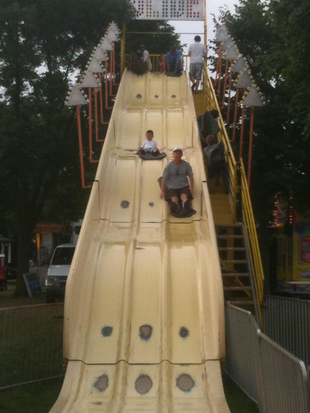 Stopped at a carnival, where our friends Sean and little Ethan hit the crazy slide for a crazy good time!