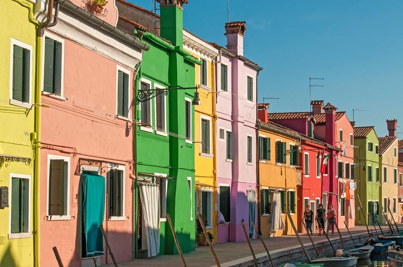 Colourful Houses, Fondamenta di Cao Moleca, Burano, Venice, Veneto, Italy