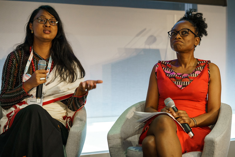 22nd International AIDS Conference (AIDS 2018) Amsterdam, Netherlands.   Copyright: Matthijs Immink/IAS  Integration in Practice: First-Hand Accounts from Clients and Health Care Providers   Photo shows (panel left to right):  Rukshana Kapali, Youth LEAD, Nepal  Femi Oke, Al Jazeera English, United States