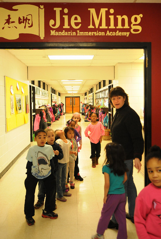 . Hamline Elementary kindergarten students line up for recess after a bathroom break. (Pioneer Press: Jean Pieri)
